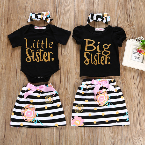 2018 baby girl summer clothes sets kids little sister short sleeve top/romper+tutu skirts+headband 3pcs outfits