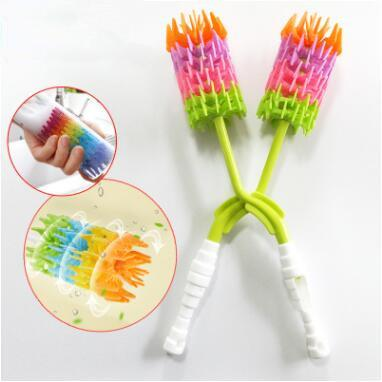 New 360 Degree Rotating Long Handle Silicone Bottle Brush Drinking Cup Water Mug Rainbow Cleaning Brush CCA9992 30pcs