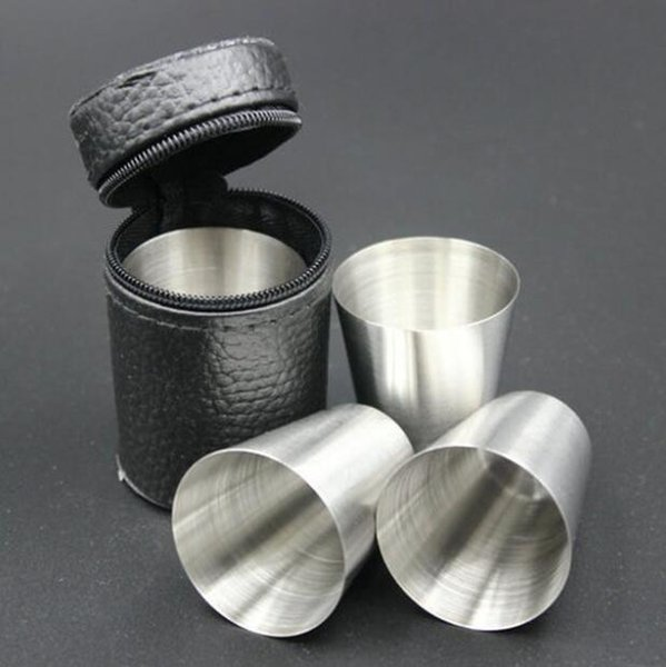 4pcs/Set 70ML Stainless Steel Pocket Shot Mini Cup With Case For Wine Beer Whiskey Drink Men's Outdoor Travel Gift