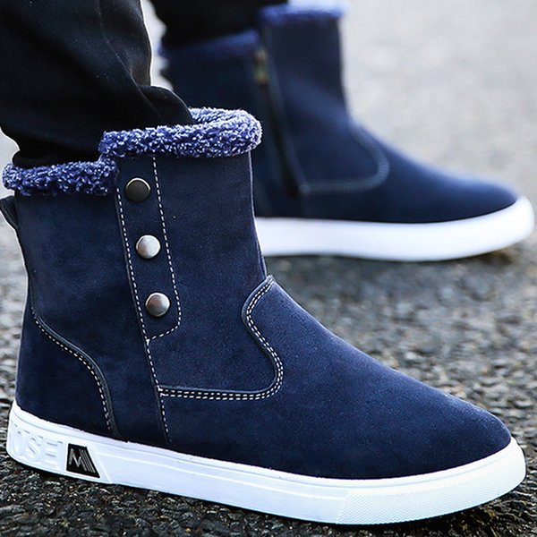 2018 New arrival men boots winter with fur rivet fashion ankle boots for men hard-wearing non-slip warm male