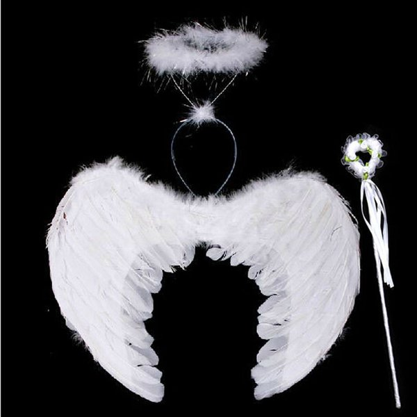 Halloween Large and small angel feather wings and angel garland and fairy wand for kids dress