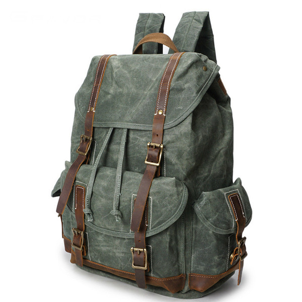 Vintage Canvas Leather Backpack Hiking Daypacks Computers Laptop Backpacks Unisex Casual Rucksack Satchel Bookbag Mountaineering Bag