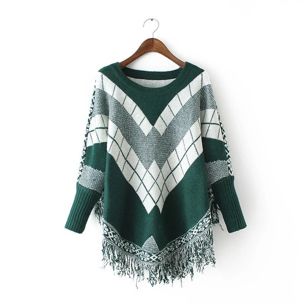 Compre Poncho O Neck Spell Color Jacquard Tassel Cloak Sweater ...