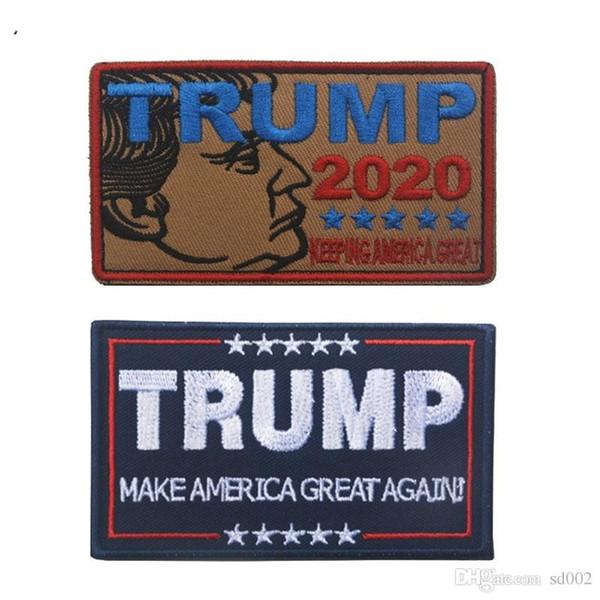 Trump Para O Presidente 2020 Braçadeira 9 * 5 cm 3D Bordado Crachá Manter a América Grande Etiqueta Mágica Saco Armlet Cap Para Roupas De Costura 4 5 hk ZZ