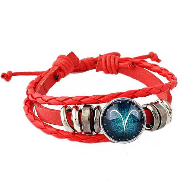 1pcs Bracelet 12 Constellations Red bracelet style Rivca loves friend couples bracelet summer leather for man jewelry constellation jewelry