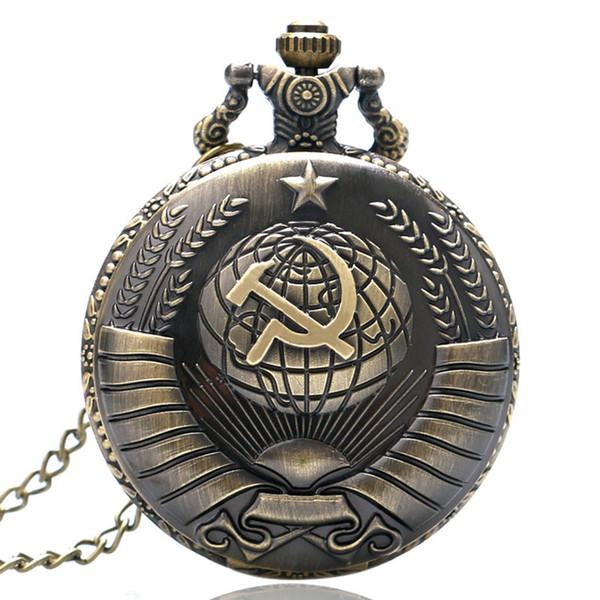 En iyi Bronz Sovyet Orak Çekiç Tasarım Kuvars Pocket saat Erkekler Steampunk Kolye Saat Hediye Erkek Kadınlar için Antika Fob Saatler Boy