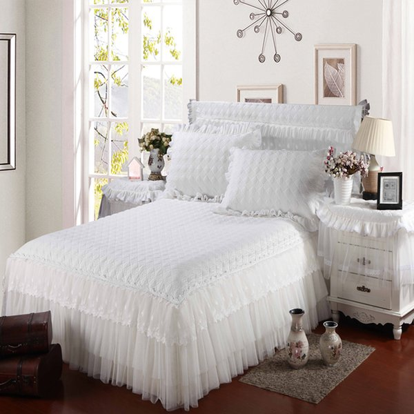 Light Blue Bed Skirt.Luxury White Beige Light Blue Princess 100 Coon Lace Wedding Thick Bed Skirt Bedding Set Bedspread Bed Sheet Pillowcase Linen Dust Ruffle Quilted