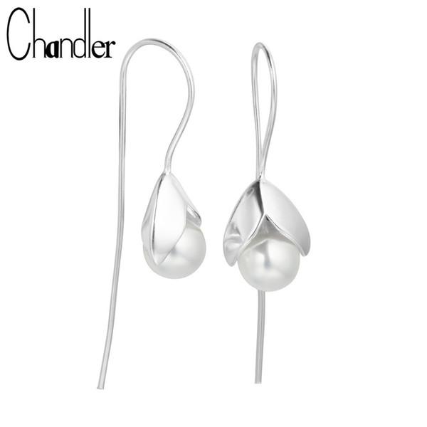 Chandler 2017 Hot Selling silver Jewelry 100% Real Freshwater Pearl Drop Earrings For Women Long Flower Earring