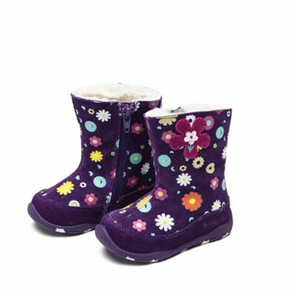 Freies Verschiffen 1 Paar Mädchen Echtes Leder Schnee Stiefel, neue Mädchen schöne Kinder Mode Boot, rutschfeste Winter warme Kinder Stiefel