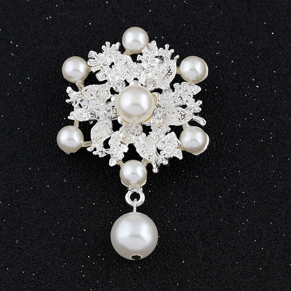 Water Drop Brooches Pins with Crystal and Pearl High Quality Rhinestone Bouquet Broche for Wedding Flower Jewelry Wholesale Drop Shipping