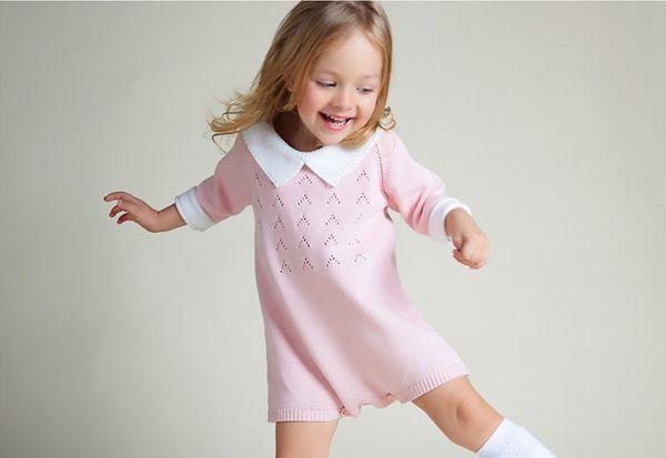 Winter Autumn Baby Girls Clothes Pink Turn-Down Neck Long Sleeve Newborn Jumpsuit Overall Outerwear Crochet Infant Sweater Dress