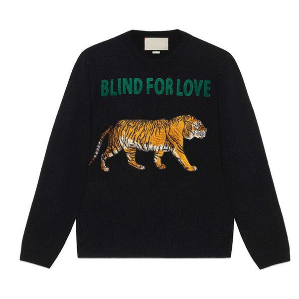 top popular Tiger Sweaters BLIND FOR LOVE Letter designer Pullover Christmas Sweaters Yellow Winter Sweatshirts Hoddies Long Sleeve 2019