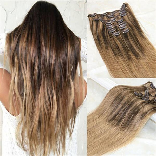 Clip de Balayage en extensiones de cabello # 4 marrón oscuro mezclado # 27 Honey Blonde y color # 10 Golden Brown Ombre brasileño extensiones de cabello humano clips