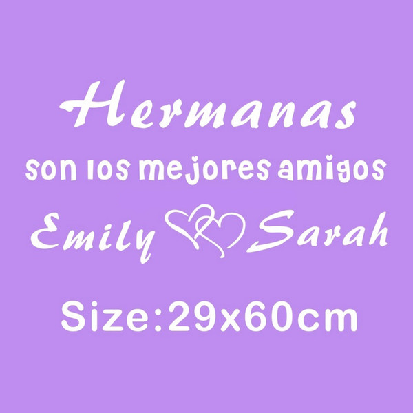 Personalized Spanish Quotes Brothers Sisters Names Love Heart Son Los Mejores Amigos Wall Stickers Sweet Words Kids Room Decor