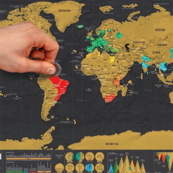 Deluxe Black World Map Travel Scrape Off World Maps Vintage Retro Home Decorative Map Toys DIY Gift Education Learning Toys with Tube Box