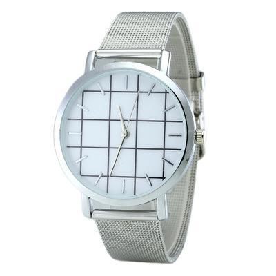 2018 Neueste Mode Schwarz Und Weiß Gitter Uhr Damen Klassische Edelstahl Mesh Gürtel Uhr Stahlband Uhr