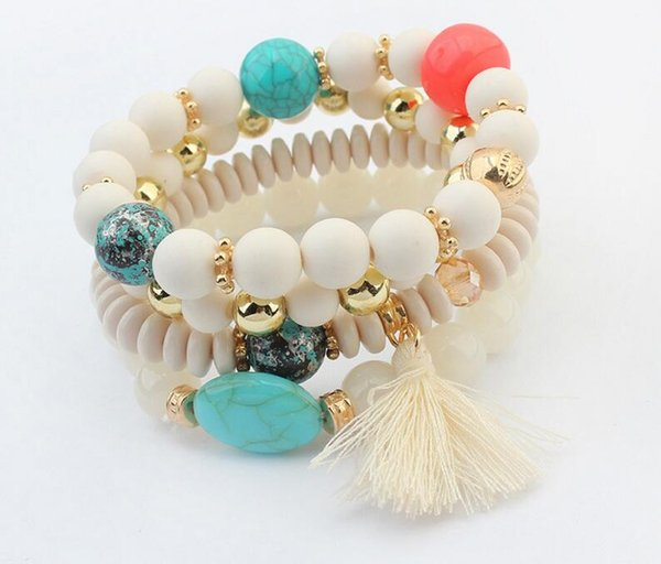European and American fashion, small and fresh accessories wholesale bead beads fringes, bracelet beads, multi-layer Elastic Bracelet L639