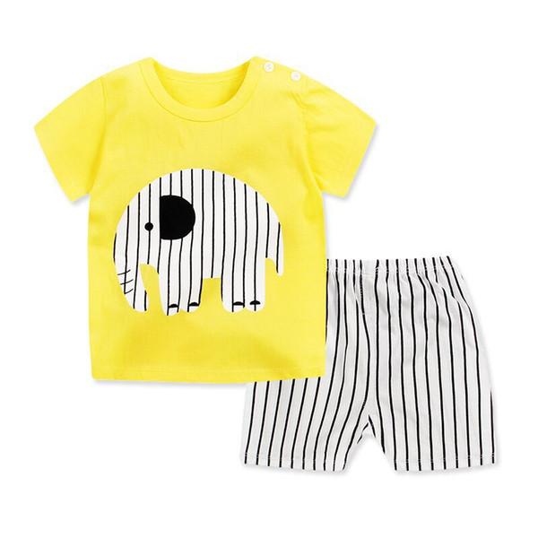 Kids Clothes Summer Baby Boy Girls Clothes Cartoon Toddler Boys Sport Clothing Sets Tops + Pants Suit Kids Beach Wear