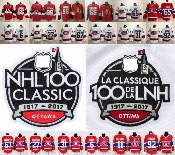 2018 DC 100 ° Clásico Ottawa Senators Erik Karlsson Matt Duchene Montreal Canadiens 31 Carey Precio Shea Weber Jonathan Drouin Hockey Jersey
