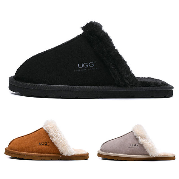 WGG women Slides winter Luxury Designer Indoor fur Brand womens warm Sandals Slippers House Flip Flops With Spike Sandal 36-41