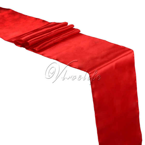 """Free Shipping 10PCS New Red Satin Table Runners 12"""" x 108'' Wedding Party Banquet Home Hotel Decorations 30cm x 275cm"""