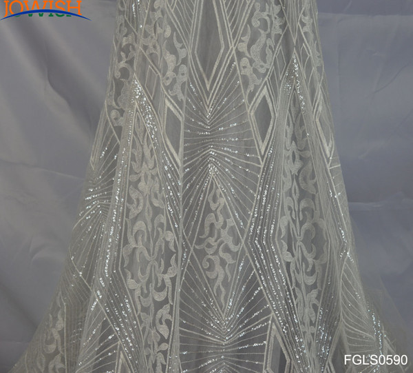 top popular Lastest 3yards Geometric Sequin Fabric Embroidered Tulle ivory lace Fabric for Wedding Dress craft sewing lace fabric 2021