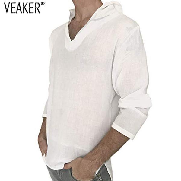 2018 New Men's Hooded Linen T Shirt Male Autumn Long Sleeve Solid Color Pullover T shirts Men Cotton Linen White shirt M-3XL