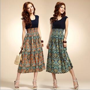 Yeni Varış Lady Çiçek Elbiseler Yaz Çiçek Baskı Bohemia Stil Bayan Uzun Elbise Kolsuz Yelek Maxi Elbise Kız