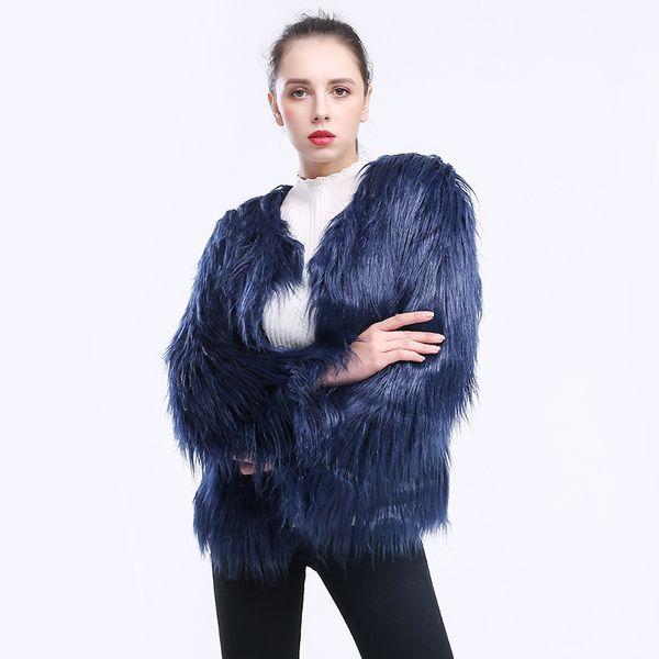 Top Fashion Long Hair Faux Fur Jacket Women Pink Black Fur Coat Imitation Fur Jackets Hairy Party Short Coats Fourrure