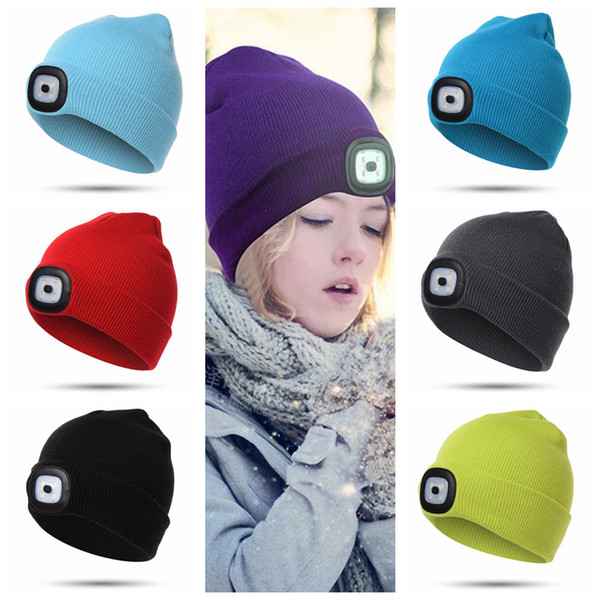 LED Light Hat 7 Colors Knitted Warm LED Headlamp Beanies Cap Hiking Camping Running Beanies Girls Hats 600pcs OOA5736