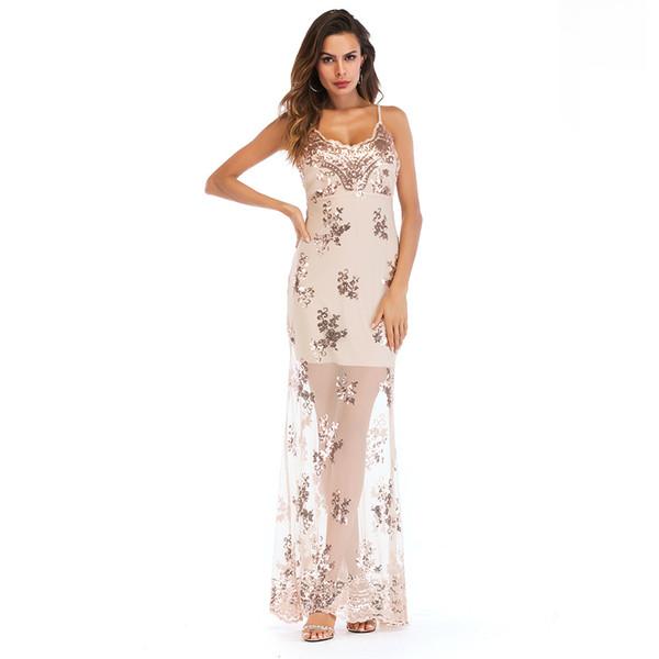 S-2XL women sexy deep v neck sequined dress summer long strap dress brand lady summer evening party maxi dress