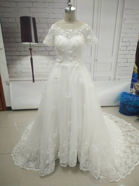 Elegant A-Line Cap Sleeve Long Beaded Wedding Dresses Women Tulle Sweep Train Bridal Gown Lace Up Wedding Gowns Free Wedding Veil and Gloves