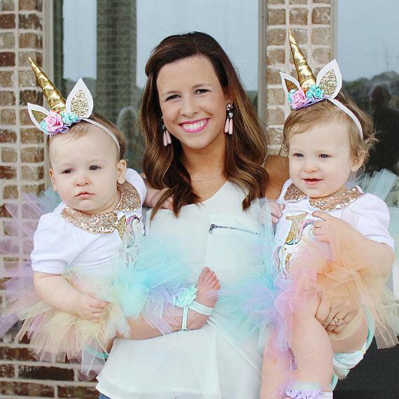 Bandas para bebés de la fábrica Girls Flower Sparkle Unicorn Party Hairbands Accesorios para el cabello de los niños del brillo Princesa Birthday Fotografía Bandas para la cabeza