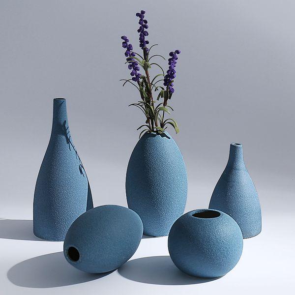 blau schwarz grau 3 farben Europäische moderne matt keramik vasen / blumengefäß tischplatte Vase / home ornamente innenausstattung
