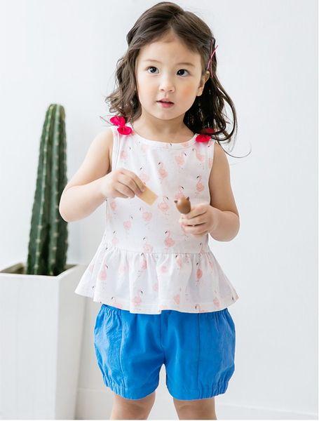 Moda 2018 bambini ragazze che coprono gli insiemi vestiti del bambino del fenicottero vestito dell'arco del fumetto top + bicchierini 2pcs vestiti vestiti casuali del bambino C3513