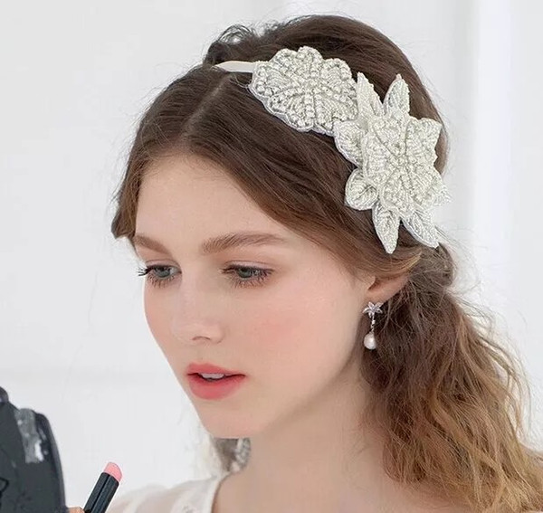 Sweet princess bridal tiara European and American high-end handmade crystal inlaid rhinestone flower headband hair accessory