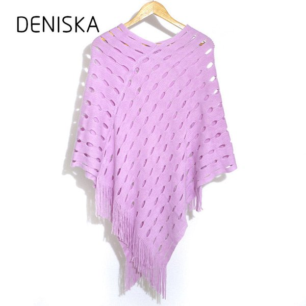 DENISKA Fashion Women Hole Autumn and Winter Poncho Scarf Sweaters Lady Casual Knitted Tassel Hood Warm Brief Scarf Cardigan S18101904