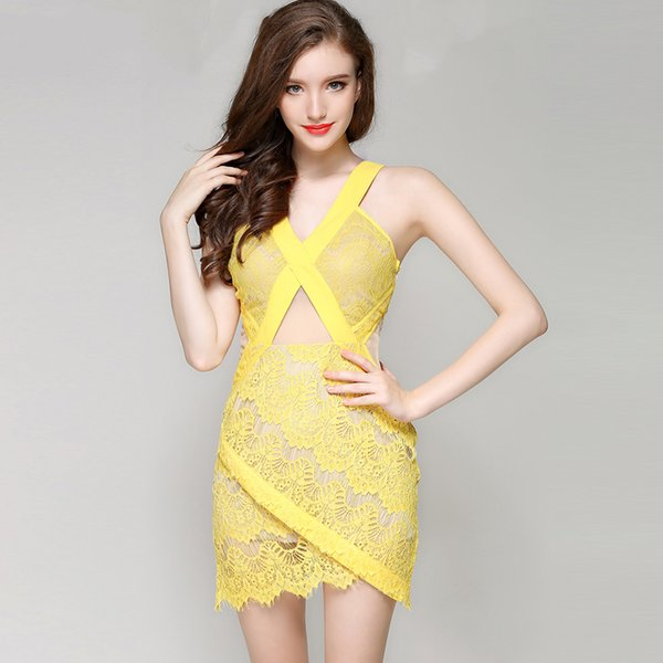 Yellow Sexy Deep V-neck Party Dress Women Backless Lace Elegant Mini Evening Dresses Short Summer Fashion Jumpsuits 2018