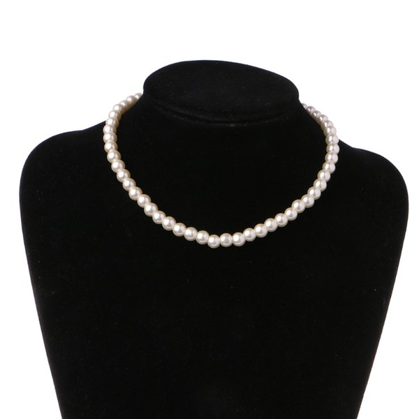 Elegant Ivory White Glass Imitation Freshwater Pearl Necklaces For Women Jewerly Round Loose Beads