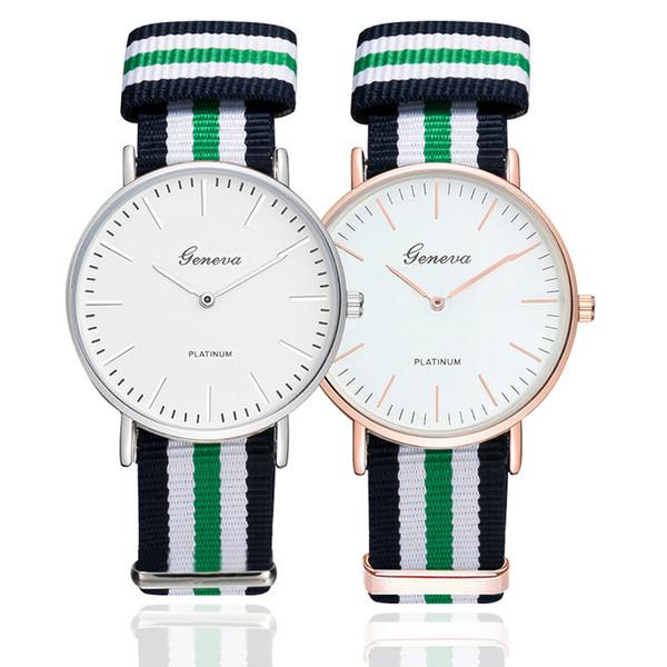 Casual Canvas Nylon Strap Watches Women Luxury Geneva Dial Quartz Watches Men Sports Wristwatch for Unisex Fashion Clock relogio