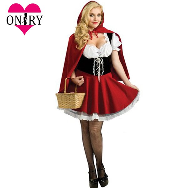 Halloween Cosplay Plus Size Sexy per adulti Little Red Riding Hood Costume donne Costumi vestito operato per giochi di ruolo Outfit