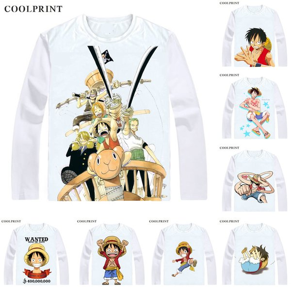 COOLPRINT ONE PIECE T-Shirts Long Sleeve Shirts Anime Manga Wan Pisu Straw Hat Pirates Monkey D. Luffy Straw Hat Luffy Cosplay Shirt
