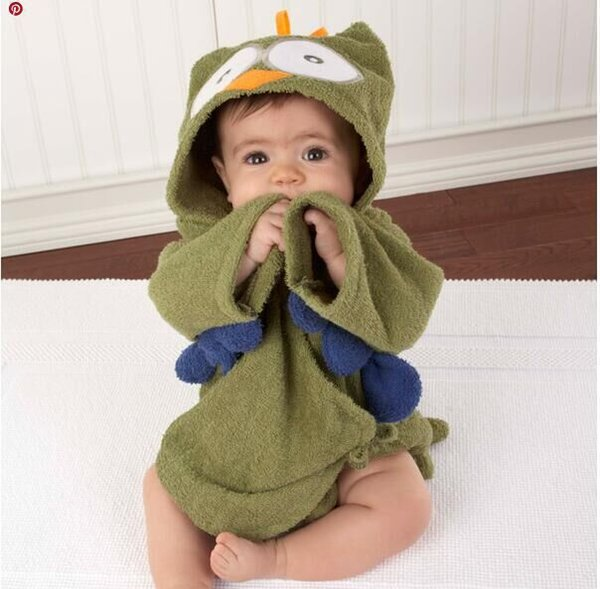 2019 Hot Wholesales Spring Autumn Winter Summer Girls Boys Baby Designs Hooded Animals Kids Cartoon Robes Towels 3pcs Lot