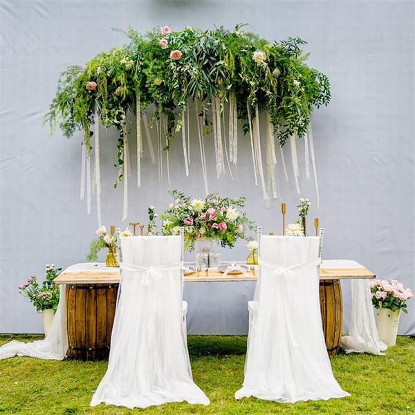 Neue Muster Net Garn Stühle Abdeckung Hochzeit Bankett Party Lange Voile Stuhl Schärpe Schmücken High Grade 20 7hb Ww