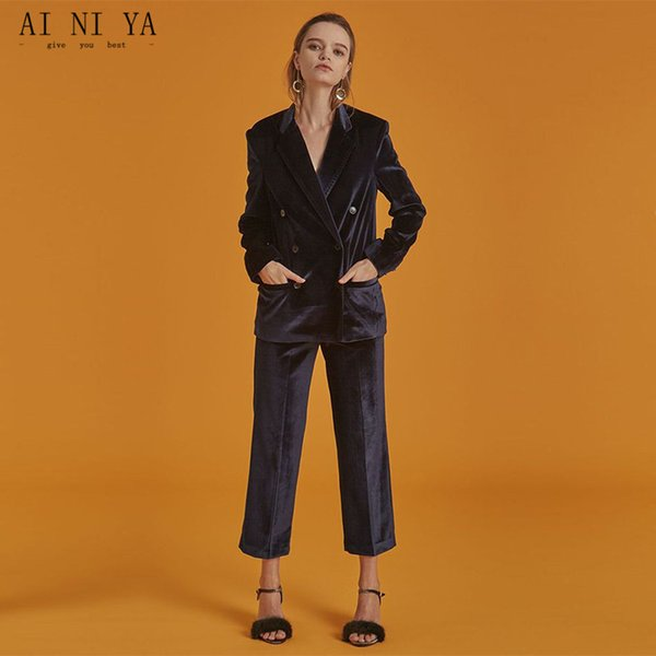 New Double Breasted Purple Women Business Suits Autumn Winter Fashion Formal Female Office Uniform Elegant Ladies Pants Suit