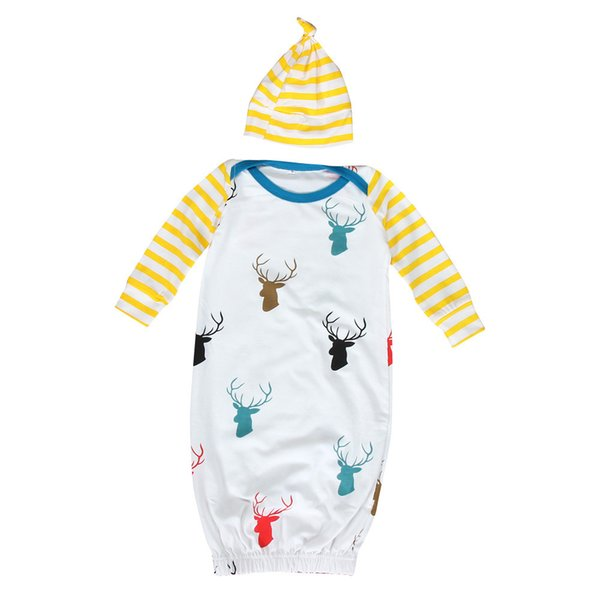 Baby Cotton 1Set Infant Baby Long Sleeve Deer Print Newborn Gown Matching Hat Clothes