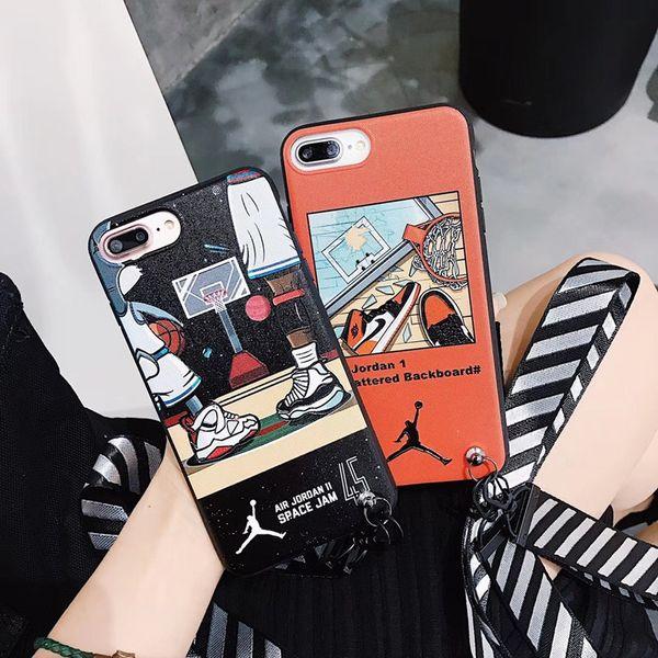Sport Graffiti Zebra Stampa Back Cover Strisce smerigliate Cordino Bracciale Telefono Guscio Scarpe da basket per iPhone XS Max XR 6s 8 Plus