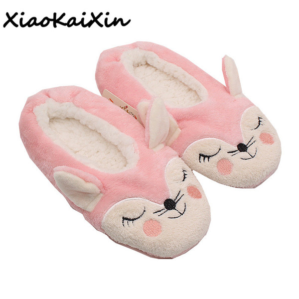 winter animals style women home cotton slippers ladies indoor floor cute pink fox and black cat soft sole ballet yoga flat shoes