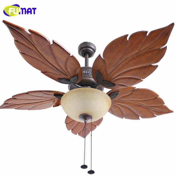 FUMAT Ceiling Fan Lights Decorative Fans Brief Retro Indoor Ceiling Light Living Room Chinese Style Maple Fan Lamps