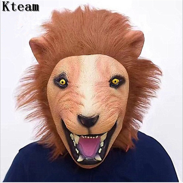 Latex Mask Realistic 2018 Halloween Horror Scary Mask Full Face Ferocious Angry Lion Head Animal Masquerade Party Silicon